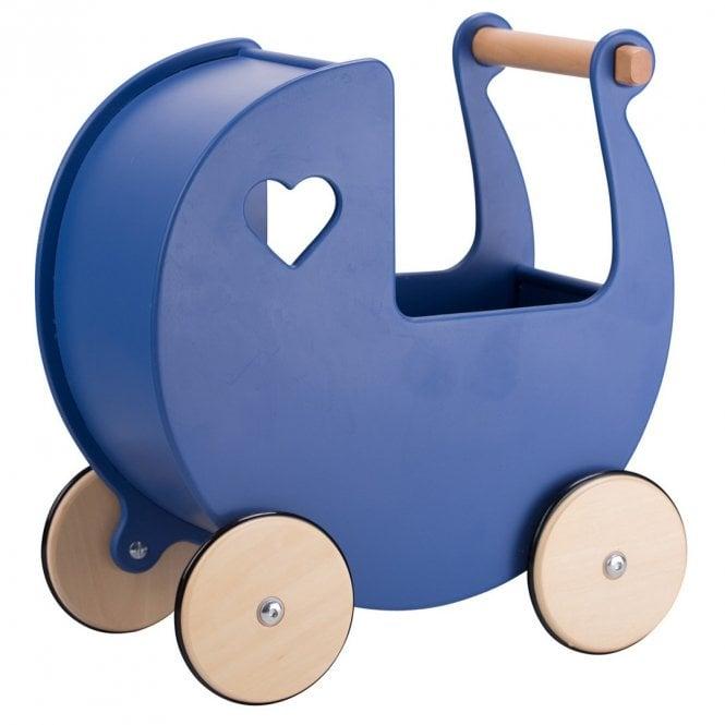 Wooden Pram - Navy Blue