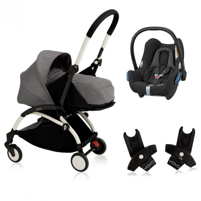 YOYO+ Pushchair White Chassis Newborn and 6+ Pack Travel System CabrioFix