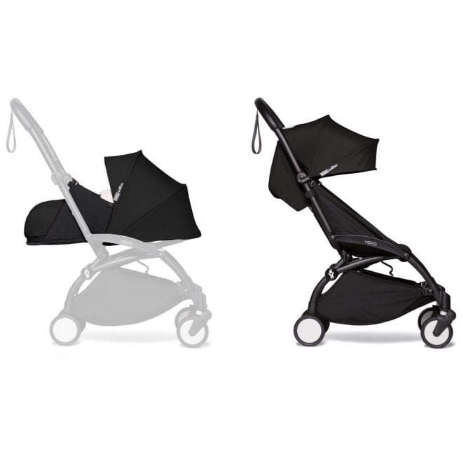 YOYO2 Pushchair With 0+ And 6+ Colour Pack - Black / Black