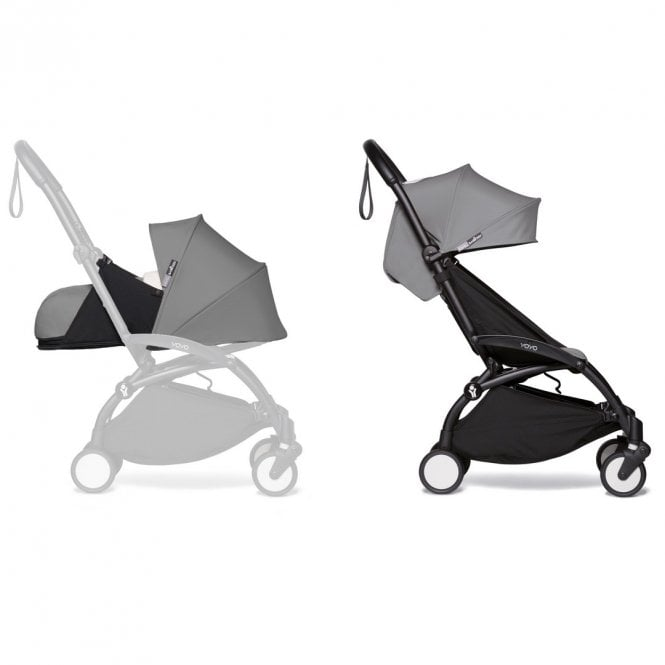 YOYO2 Pushchair With 0+ And 6+ Colour Pack - Black / Grey