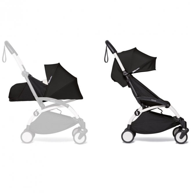 YOYO2 Pushchair With 0+ And 6+ Colour Pack - White / Black