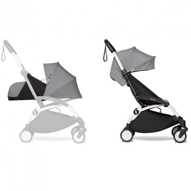 YOYO2 Pushchair With 0+ And 6+ Colour Pack - White / Grey